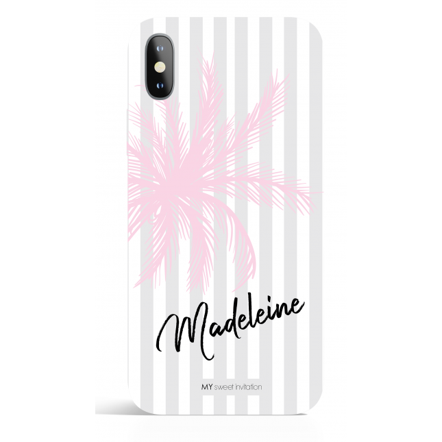 Pink Palm Stripes Pesonalized Phone Case