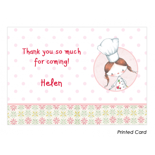 Little Girl Chef Thank You Cards