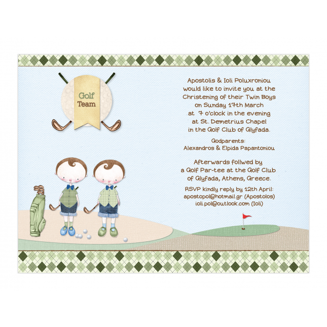 Golf Boy Twins Invitation