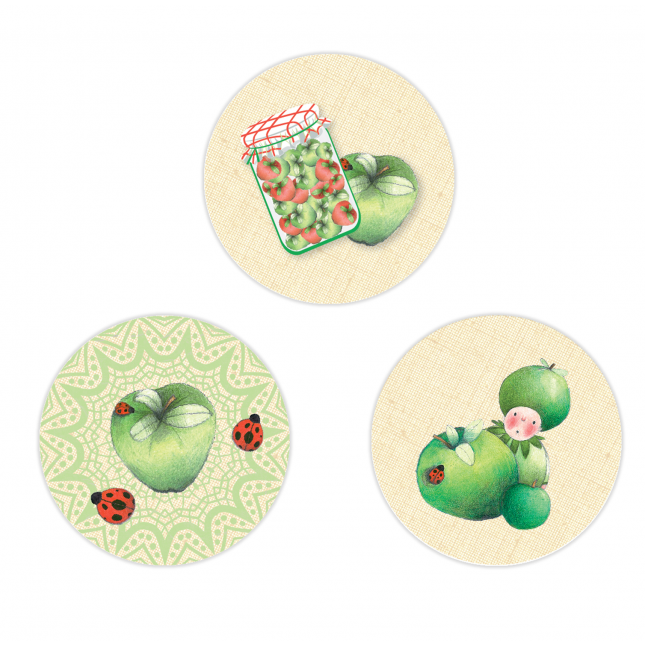 Green Apple Circle Stickers