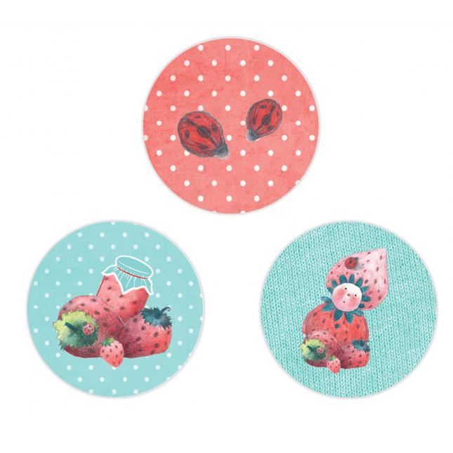 Strawberry Circle Stickers