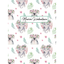 Cute Friends Koala Elephant White Pattern
