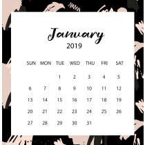 Free Art Black Calendar 2019 | The Desk Calendar