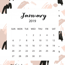 Free Art White Calendar 2019 | The Desk Calendar