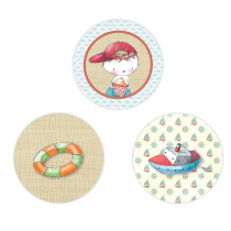Boy Summertime Circle Stickers