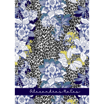 Leopard Grey Floral Blue Personalized Notebook/Agenda