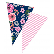 Navy Flowers Banner