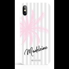 Pink Palm Stripes Pesonalized Phone Case