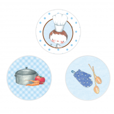 Little Boy Chef Circle Stickers