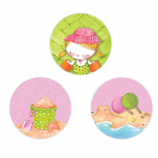 Girl Summertime Circle Stickers