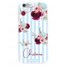Stripes Flower Personalized Light Blue Case
