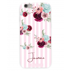 Stripes Flower Personalized Pink Case