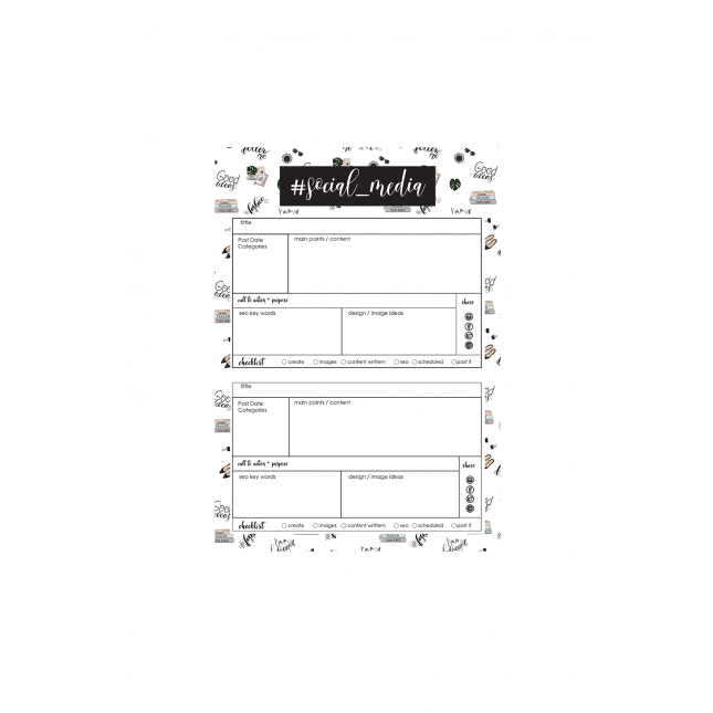 Social Media Planner Hashtag Personalized Pattern