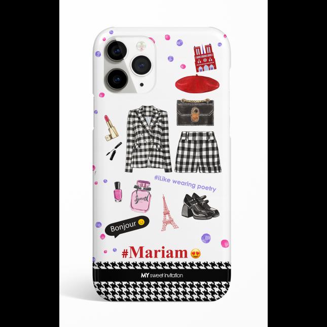 Black & White Check I Love Paris Phone Case