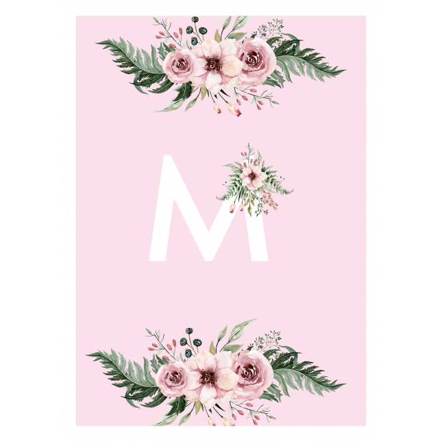 British Garden Monogram Flower Pink Notebook