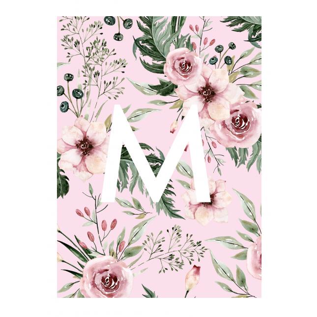 British Garden Pattern Monogram Pink  Notebook