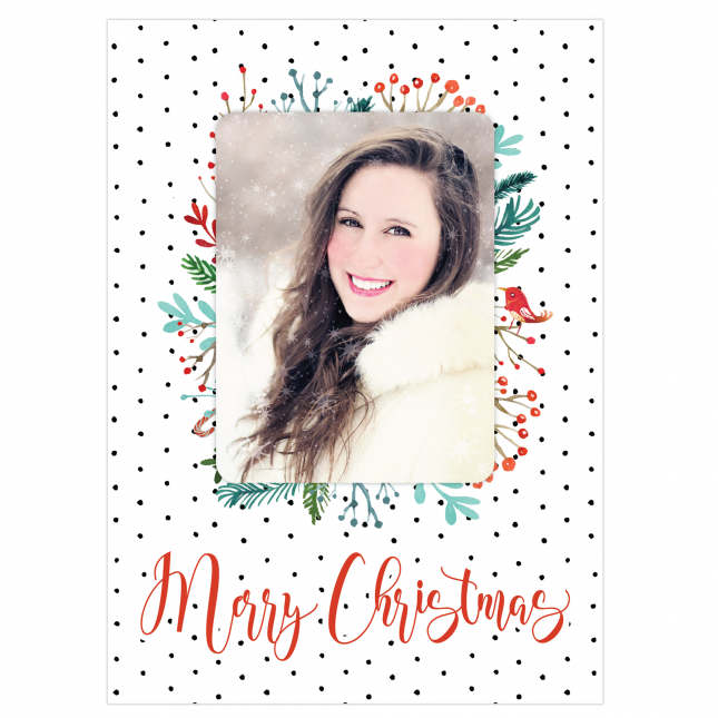 Festive Polka Personalized Greeting Card
