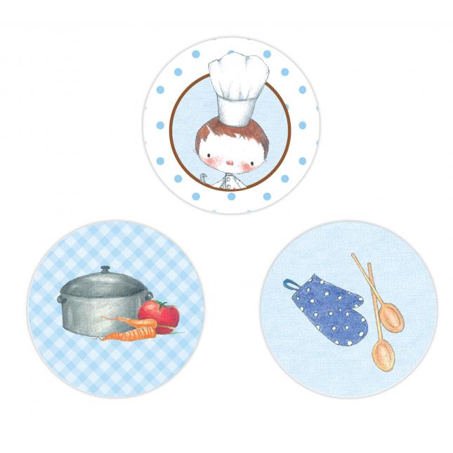 Little Boy Chef Circle Stickers