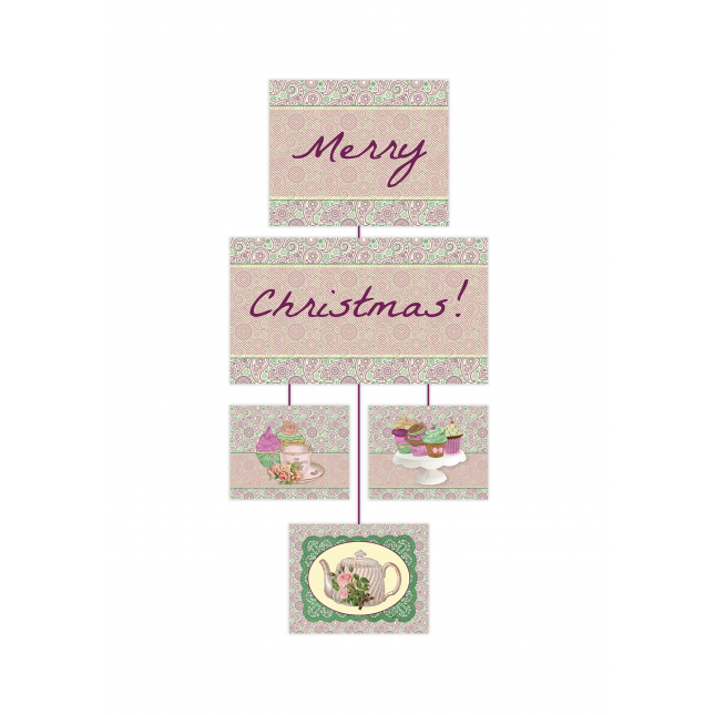 Shabby Chic Tea Party Vertical Banner