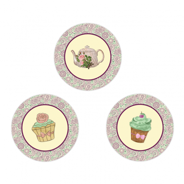 Shabby Chic Tea Party Circle Stickers