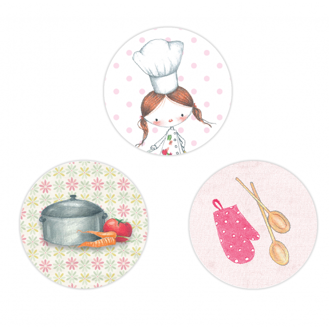 Little Girl Chef Circle Stickers