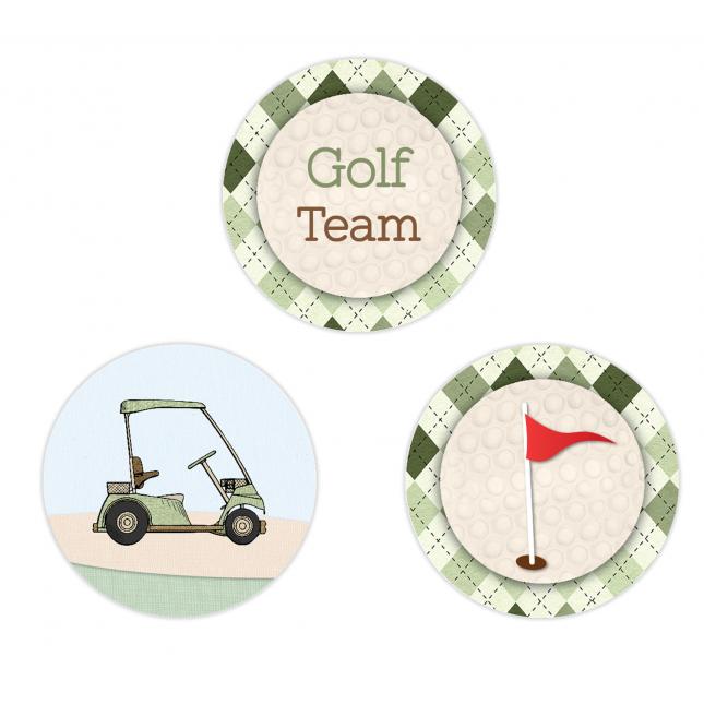Golf Boy Twins Circle Stickers