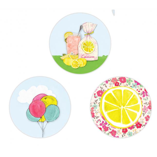 Pink Lemonade Circle Stickers