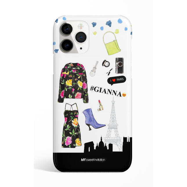 Black Floral Print Puffer I Love Paris Phone Case
