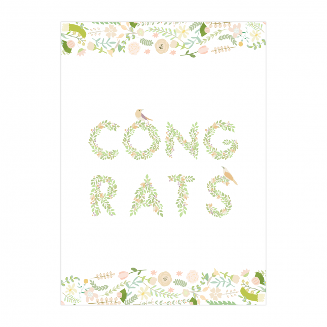 Flowered Congrats Folded Greeting Card