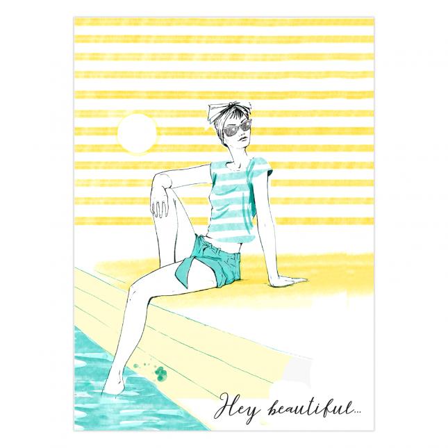 Girl in the Sun Folded Greeting Card | Virginia Romo