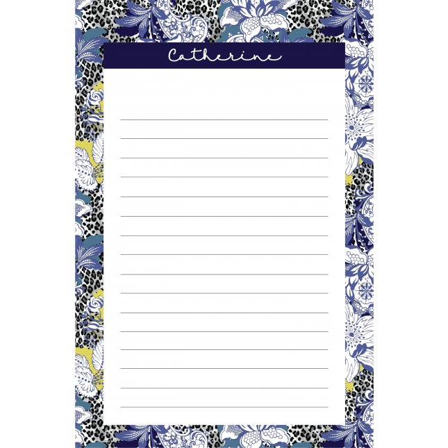 Leopard Flower Blue Personalized Notepad