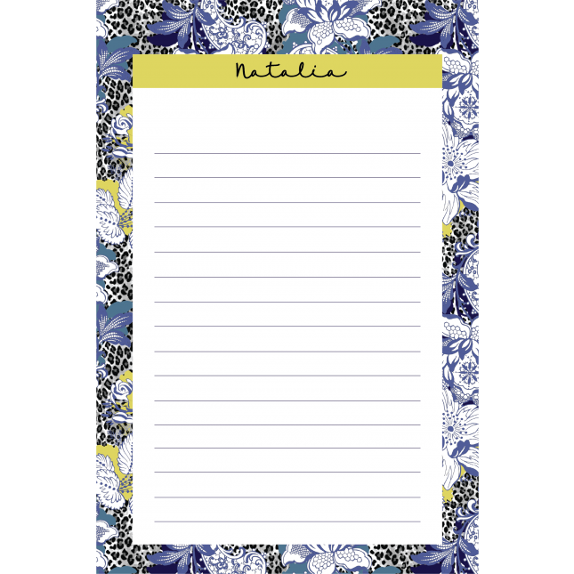 Leopard Flower Blue Poison Personalized Notepad