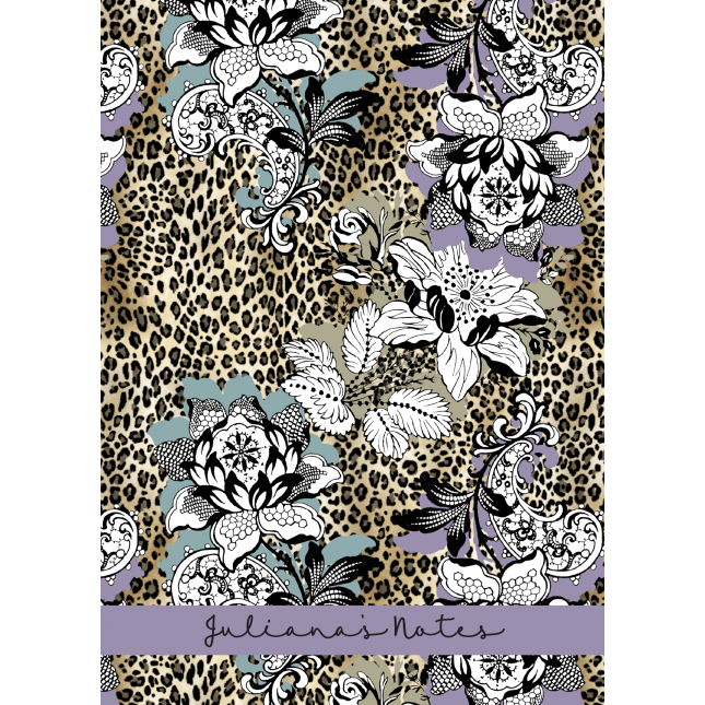 Leopard Floral Purple Personalized Notebook/Agenda