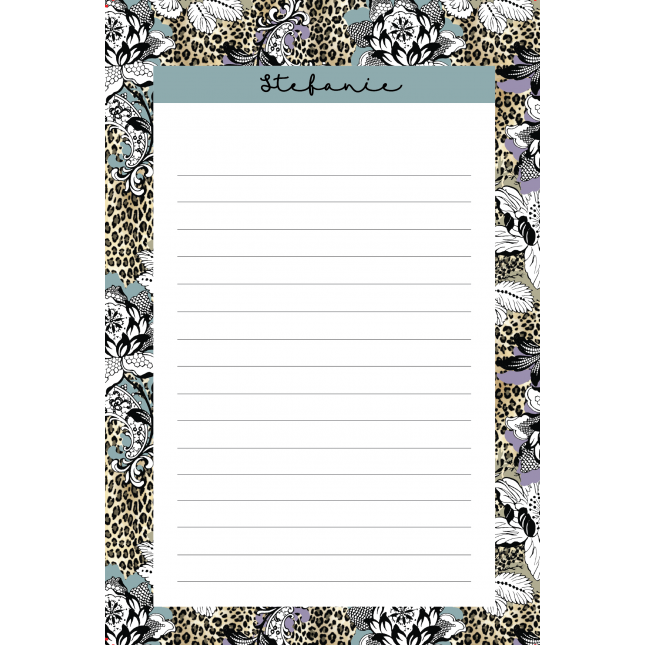 Leopard Flower Relish Personalized Notepad