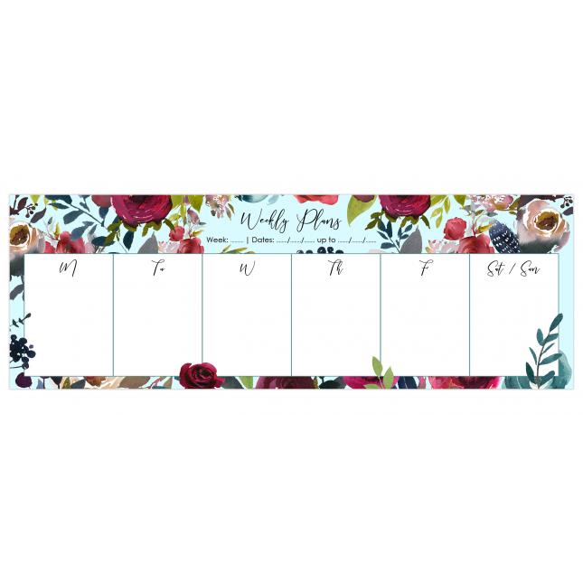 Merlot - Light Blue   Desk Weekly Planner