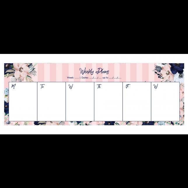 Pink Stripes Evening Garden Desk Weekly Planner