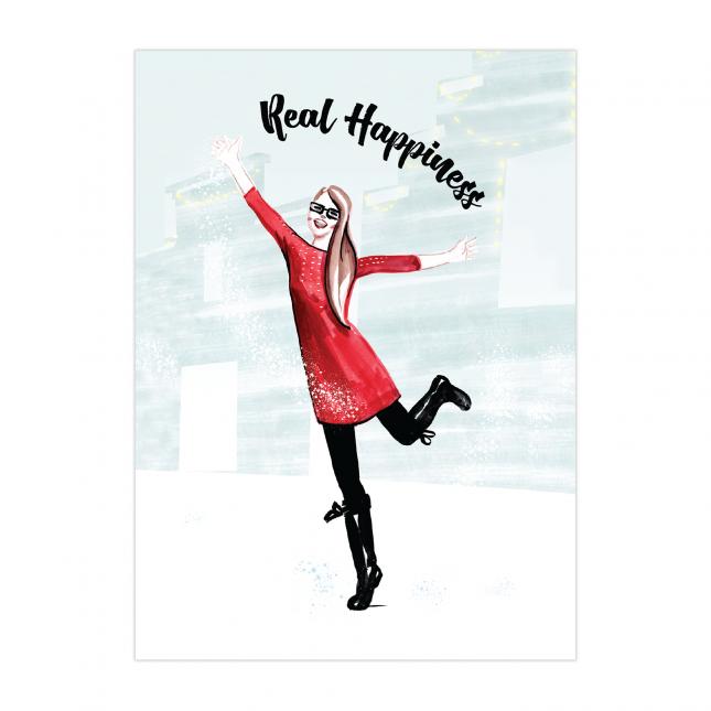 Real Happiness Folded Greeting Card   Virginia Romo
