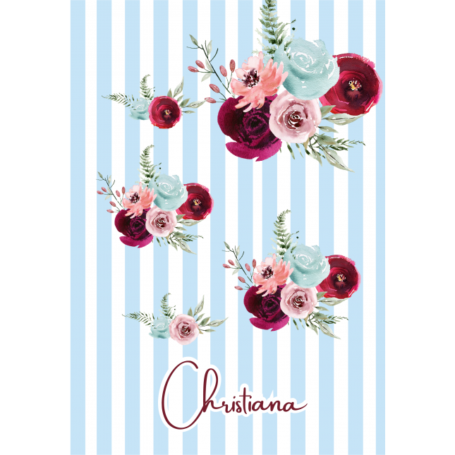 Stripes Flower Light Blue Notebook
