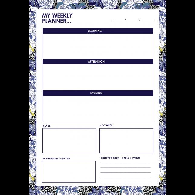 Leopard Flower Blue Weekly Planner