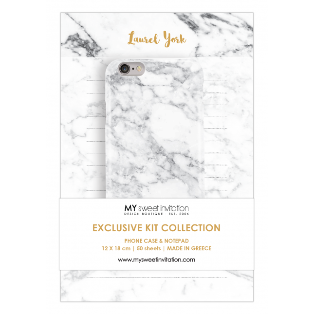 White Marble | Notepad Personalized Kit