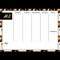 70s Modern Vintage Orange Black Monogram Weekly Planner