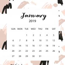 Free Art White Calendar 2019 | The Desk Calendar
