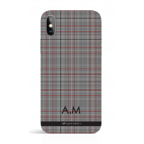 Tartan Black White Monogram Phone Case