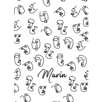 Faces White Pattern Art Notebook |  Agenda