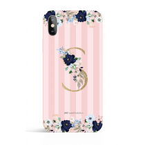 Gold Monogram Dusty Pink Stripes Evening Garden PHONE CASE
