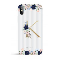 Gold Monogram Gray Stripes Evening Garden PHONE CASE