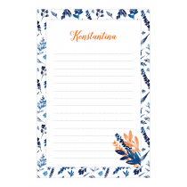 Indigo Florange Personalized Notepad
