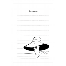 Lady in Hat Personalized Notepad | Virginia Romo