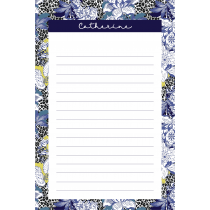 Leopard Flower Blue Personalized Notepad