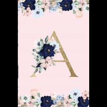 Pink Monogram Evening Garden Notebook/Agenta